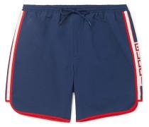 Short-length Grosgrain-trimmed Swim Shorts - Navy