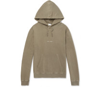 Logo-print Distressed Loopback Cotton-jersey Hoodie - Green