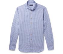 Slim-fit Cutaway-collar Striped Linen Shirt