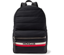 New George Webbing And Leather-trimmed Quilted Shell Backpack - Black