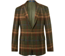 Morgan Slim-fit Suede-trimmed Checked Wool Blazer - Green