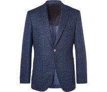 Blue Janson Slim-fit Mélange Stretch-virgin Wool And Linen Blend Blazer - Blue