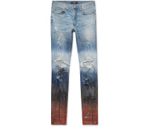 Thrasher Skinny-fit Distressed Printed Stretch-denim Jeans