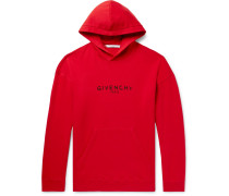 Distressed Logo-print Loopback Cotton-jersey Hoodie - Red