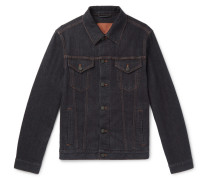 Stretch Cotton And Cashmere-blend Denim Jacket - Navy