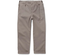 Wide-leg Twill Trousers - Gray