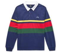 Lucas Striped Cotton-jersey Polo Shirt - Navy