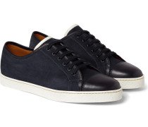 Levah Cap-toe Suede And Leather Sneakers - Navy