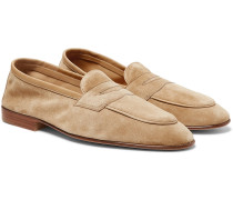 Polperro Leather-trimmed Suede Penny Loafers - Neutral
