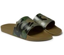 Valentino Garavani Camouflage-print Rubber Slides - Army green