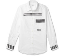 Slim-Fit Striped Logo-Embroidered Cotton Oxford Shirt