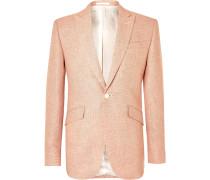 Navy Slim-Fit Linen Suit Jacket