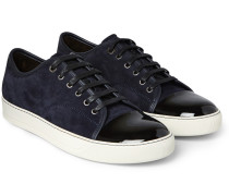 Cap-toe Suede And Patent-leather Sneakers