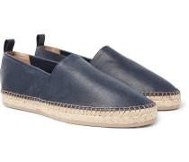 Pebble-grain Leather Espadrilles