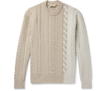 Colour-Block Cable-Knit Wool Sweater