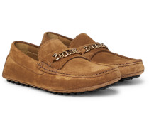 York Chain-trimmed Suede Driving Shoes