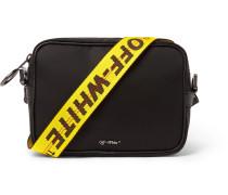 Logo-Appliquéd Leather-Trimmed Canvas Messenger Bag