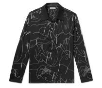 Heusen Camp-Collar Embroidered Wool Shirt