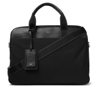 Meridian Full-Grain Leather-Trimmed Nylon Briefcase