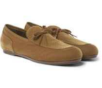 Trinity Leather-trimmed Intrecciato Velvet Loafers - Beige