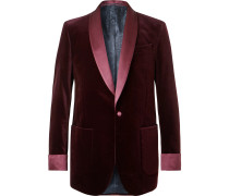 Burgundy Slim-Fit Satin-Trimmed Cotton-Velvet Tuxedo Jacket