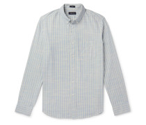 Button-Down Collar Striped Cotton-Chambray Shirt