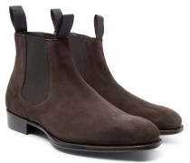 + George Cleverley Suede Chelsea Boots - Dark brown