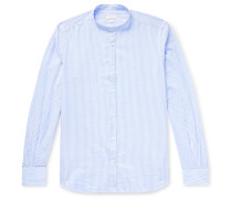 Slim-Fit Grandad-Collar Striped Cotton-Seersucker Shirt