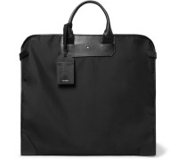 Sartorial Cross-grain Leather-trimmed Shell Garment Bag - Black
