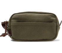 Leather-trimmed Cotton-canvas Wash Bag - Green