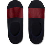 Striped Stretch Cotton-blend No-show Socks - Midnight blue