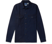 Indigo-dyed Cotton-twill Shirt