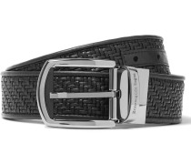 3.5cm Black Pelle Tessuta Leather Belt - Black