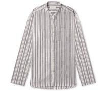 Grandad-collar Striped Cotton And Linen-blend Shirt