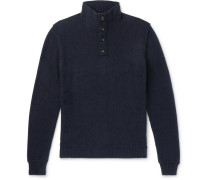 Slim-fit Leather-trimmed Cashmere Sweater