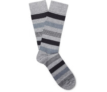 Striped Cotton, Linen And Nylon-blend Socks