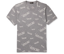 Slim-fit Logo-print Mélange Cotton-jersey T-shirt - Gray