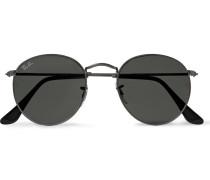 Round-frame Gunmetal-tone Sunglasses