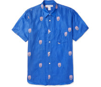 Embroidered Voile Shirt - Blue