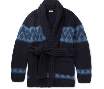 Beach Belted Intarsia Cashmere Cardigan