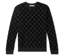 Flocked Loopback Cotton-jersey Sweatshirt - Black