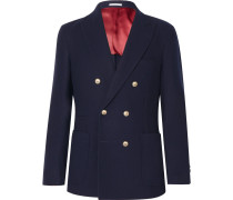 Navy Unstructured Double-breasted Wool And Cashmere-blend Blazer