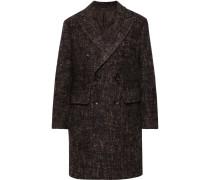 Double-Breasted Herringbone Wool-Blend Overcoat