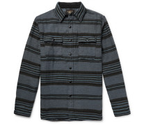Striped Brushed Cotton And Wool-blend Overshirt - Indigo
