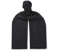 Fringed Prince Of Wales Checked Mohair, Wool, Linen And Silk-blend Scarf - Navy