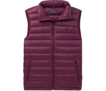 Quilted Shell Down Gilet - Burgundy