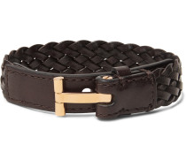 Woven Leather And Gold-tone Bracelet - Brown