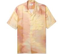 Duncan Camp-collar Printed Silk-satin Shirt