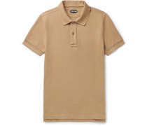 Slim-fit Garment-dyed Cotton-piqué Polo Shirt - Camel