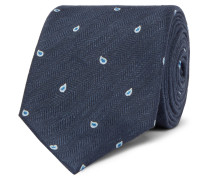 7cm Paisley-embroidered Herringbone Linen And Mulberry Silk-blend Tie - Navy